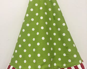 "Tree skirt-christmas tree skirt-52"" tree skirt-tree skirt w/ruffle-burlap-christmas-quadafoil-Dot"