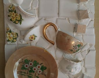 Upcycled mosaic picture: afternoon tea theme, vintage teacup, teapot and pottery