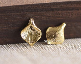 6pcs Gold plated Brass Calla Lily Bead Charms 17mm, Lead Nickel Free (GB-063)