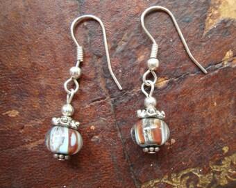 Vintage Silver Tone Bead Drop Earrings