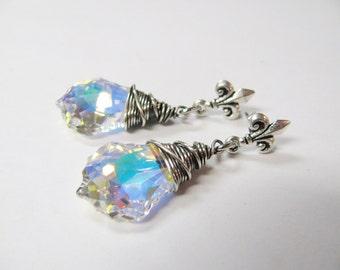 Silver Wire Wrapped Baroque Swarovski Aurora Borealis Crystals with Fluer di Lis Post