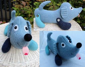 Skye - wool handmade stuffed toy from recycled sweater