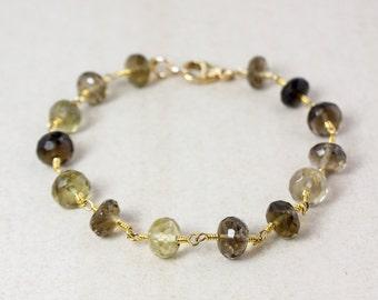 Gold Brown Smokey Quartz and Lemon Quartz Bracelet - Light Brown - Gifts for Her