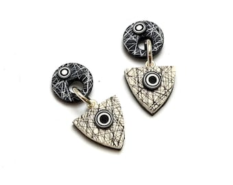 Sterling silver earrings polymer clay little dangle disk circle and triangle black white design sterling post and clutch bullseyes