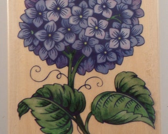 Hydrangea Flower Garden Botanical Bloom Rubber Stampede Wood Stamp #3262H