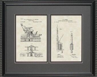 Dentist Chair and Dental Drill Patent Artwork Dental Gift J0787-2