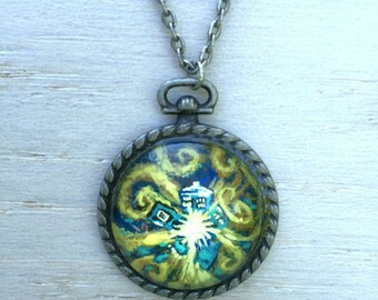 Exploding Tardis Necklace / Doctor Who jewelry / Whovian gift / Dr Who gift / tardis gift