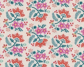 Cotton and Steel Paper Cuts Paper Bouquet Tangerine Fabric by the Half Yard