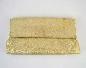 1960s Gold Lame Wallet Billfold Clutch by Lady Buxton, Evening Bag Shiny Glittery Glamour Holiday Handbag