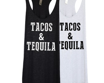SALE! Tacos and Tequila Tank Top Shirt in Black for Women - Flowy, Sleeveless and Soft - Small, Medium, Large