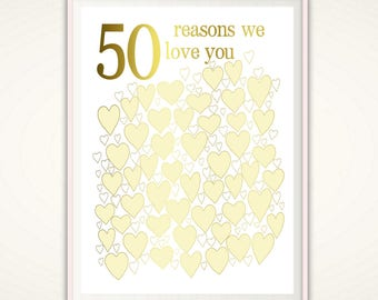 50th Anniversary Gifts - 50th Birthday Gift, 50th Anniversary Poster, Golden anniversary, 50th Wedding, 50th Anniversary Sign, PRINTABLE