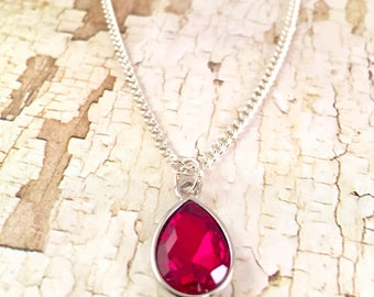 Red Tear drop pendant Necklace,  Dressy necklace, Formal Jewelry, Homecoming, crystal,  Pendant Red, elegant Jewelry