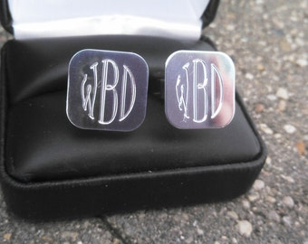 Engraved Sterling Silver Cufflinks Monograms or your initials Retro Engraving Style