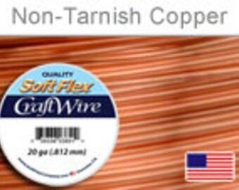 20 Gauge Non Tarnish Copper Wire, Soft Flex, Round, Supplies, Findings, Craft Wire