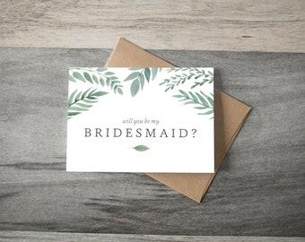 Will you be my Bridesmaid Wedding Card - greenery