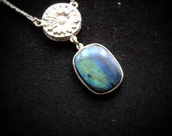 Labradorite and Aquamarine Sterling Silver Necklace