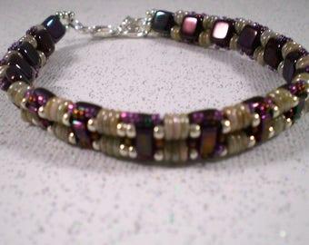 Tile Layered Hand Beaded Bracelet; Bangle, Beadwork, Hand Beaded