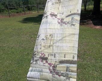 Pop Art Linen Fabric Vintage 100% Linen Fabric Abstract Design Industrial Farm Op Art Boston Terrier