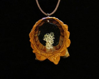 Handmade Reindeer Moss Lichen Knobcone Pinecone Pendant Necklace