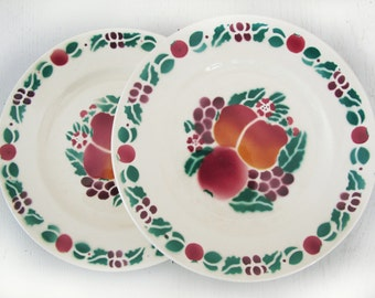 set of 4 Antique  dessert French Plates with Red Florand green fruit pattern, Apple, SARREGUEMINES