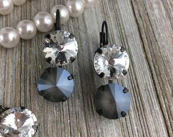 12mm Swarovski Crystal Lever Back Earrings - Black, Grey, Crystal, Gun Metal