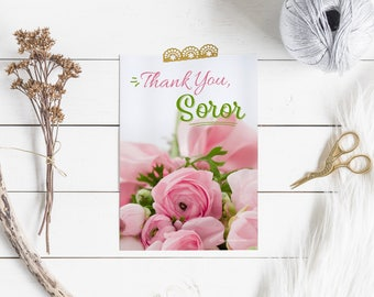 "Thank You Card Set, Alpha Kappa Alpha Sorority-inspired 5x7"" Flat Cards"