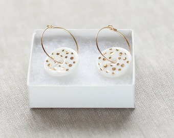 White and gold dots ceramic porcelain discs with gold filled earring hoops