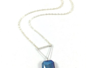 Blue Crystal Necklace, Silver Triangle Necklace, Crystal Pendant Necklace, Geometric Jewelry, Modern Jewelry, Unique Necklaces for Women
