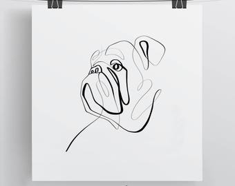 English Bulldog Art, Bulldog Print, Dog Art, One Line Drawing, Bull Dog Lovers, Hand Drawing, Bulldog Drawing, Bull Dog Print, Bulldog Gift