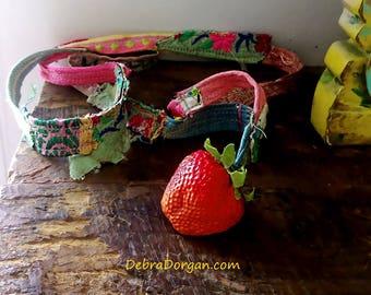 Strawberry Necklace, Fibre, Beaded, Vintage Textiles, Flowers, Rustic, Boho, Textile Necklace