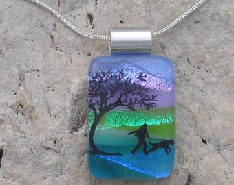 Dog Walking Necklace Dichroic Fused Glass Dog Pendant