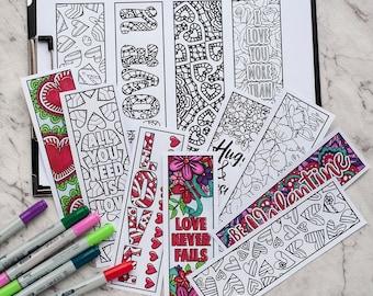 VALENTINE BOOKMARKS -  12 Printable Valentine's Day Bookmarks, Printable Coloring Bookmarks, Valentine Coloring Page, Bookmark Coloring Page
