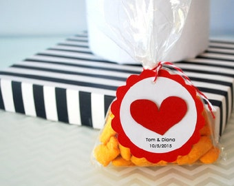 Wedding Handmade Tags, Love Heart Tags, Personalized Wedding Party Favor Tags A1232