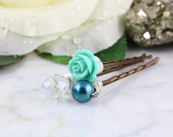 Rose Hair Pins - Pearl Hair Pins - Rose Bobby Pins - Teal Rose Hair Pins - Wedding Hair Accessories - Bridal Hair Pins - Prom Hair Pins