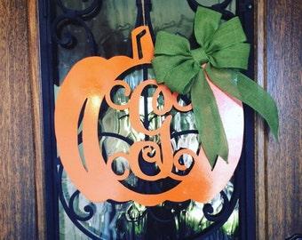 """28"""" Pumpkin with Monogram wood blank / Diy /unpainted / sanded / great for door hanger or wreath"""