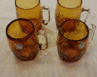 Vintage 1950s Blown Glass Mugs by Pilgrim Glass. 12 oz. Amber Glass Mugs. Excellent Condition.  Pontil Break on each. Applied Handle.