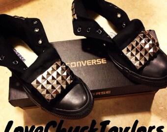 Studded Converse Chuck Taylor All Star Shoes Custom Black Mono