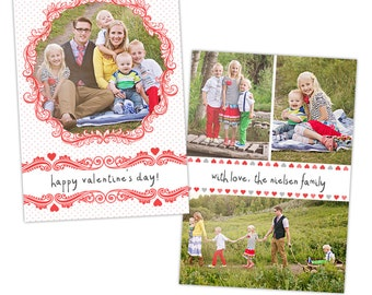 Valentine's Day PSD Photo Card Template for Photographers - 5x7 - INSTANT DOWNLOAD