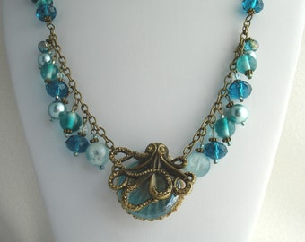 Necklace with octopus and bead dangles, octopus necklace, sea creatures, shades of turquoise