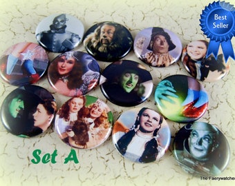 """Wizard of Oz Pins, Magnets or Flat Back Buttons, 1 inch, 1.25 inch, 2.25"""" inch, Party Favors, Choose your Design,"""