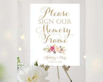 Please Sign Our Memory Frame | Various Sizes | Add Your Names | Bouquet Options | Vintage | Antique Gold | I Create and You Print