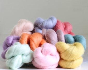Pastels Wool Bundle, Roving, Wool Roving, Needle Felting, Felting Wool, Dyed Roving, Roving Wool, Merino Wool, Needle Felting Kit, Wool