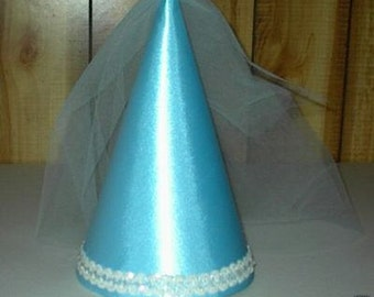 Cute Light Blue Satin Princess Medieval Cone Hat