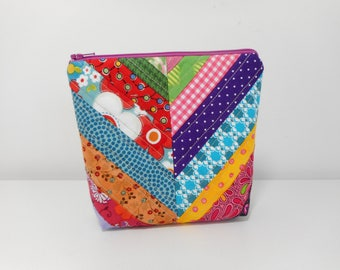 Quilted Make Up Bag, Batik Cosmetic Make Up Bag, Stand Up Style Cosmetic Pouch with Zipper