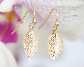 Gold leaf Earrings - Gold earrings, Leaf jewelry, Short earrings, Everyday earrings, Under 25 Gold jewelry