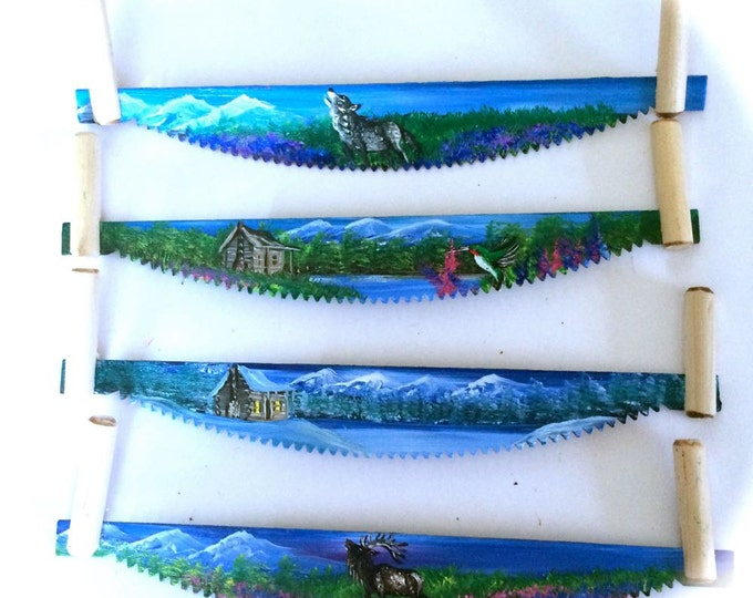 Hand Painted Miniature Cross Cut  Saw Magnets Mountain All four for 1 Price