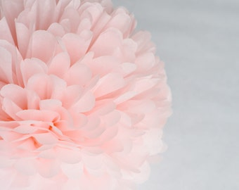 Paper pom pom in LIGHT PINK  -  wedding decorations / party decor/ nursery decor/ bridal baby shower/ tissue paper pompoms / party poms