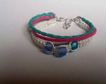 Beaded MULTISTRAND and multicolored and silver