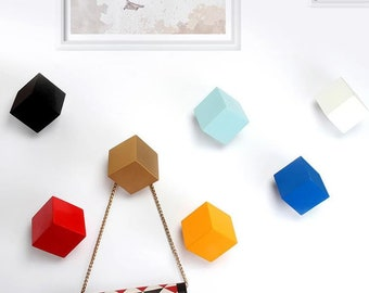 Square Hooks Colorful Decorative Hooks Home Decoration Hooks Resin Coat Hat Hangers Arts Creative Wall Hooks Wall Towel Hanger Hooks