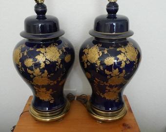 Vintage jardiniere style lamps, Hollywood Regency, Dorothy Draper, Regency Moderne, vintage lamps, hand-painted